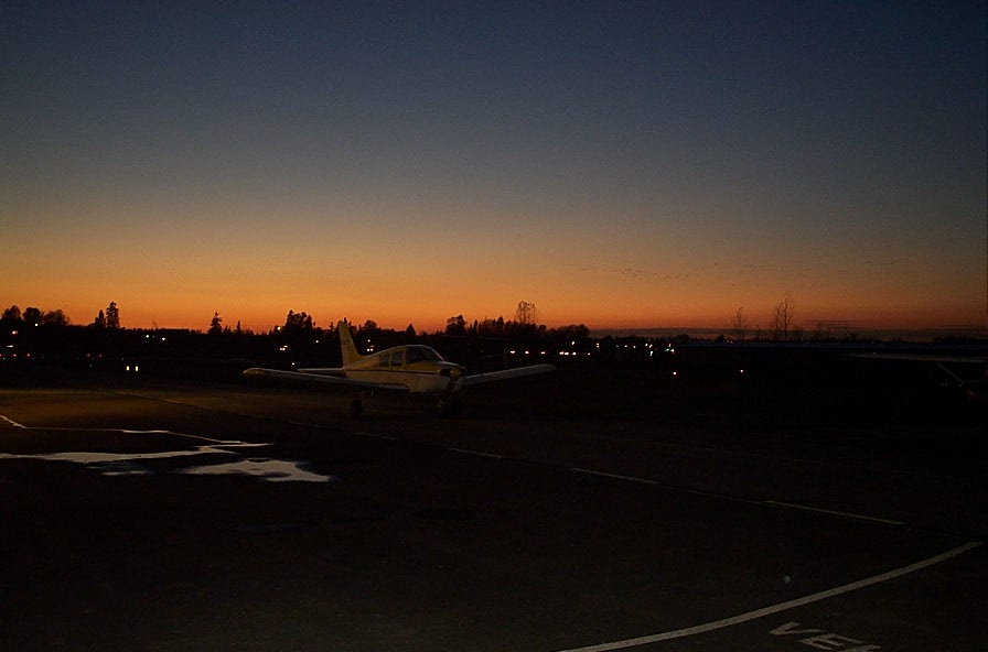 Langley Flying School's ramp at sunset.