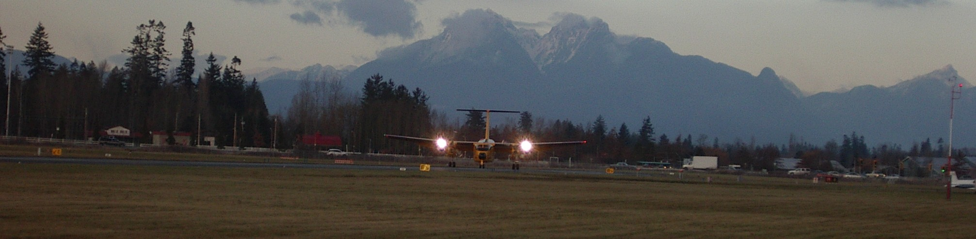 Canadian Airforce Buffallo, departing Langley Airport's Runway 19.  Langley Flying School.