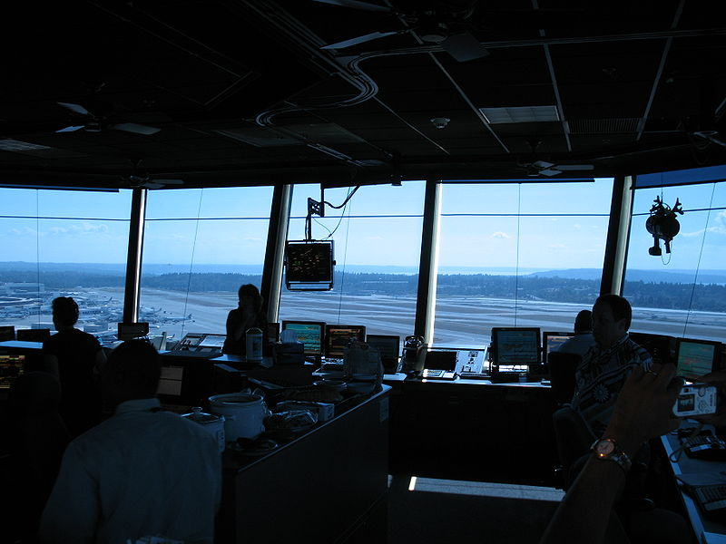 View from the control tower at Tacoma/Seattle Airport.  Courtesy Wikipedia. Langley Flying School.